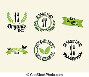 paquet, fond, organique, blanc, lettrage, nourriture