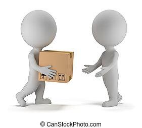 paquet, gens, -, livraison, petit, 3d