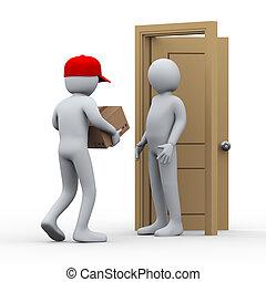 paquet, homme, 3d, livraison, maison