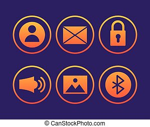 paquet, icônes, ensemble, interface, utilisateur