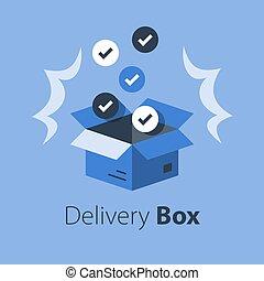 paquet, magasin, produits, multiple, livraison, ensemble, articles, recevoir, postal, achat, vente gros