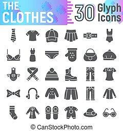 paquet, solide, collection, isolé, croquis, symboles, ensemble, vecteur, arrière-plan., pictograms, signes, habillement, logo, blanc, icône, glyph, illustrations, tissu, vêtements