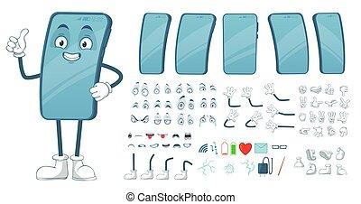 paquet, vecteur, rigolote, jambes, smartphones, mascot., bras, dessin animé, mobile, figure, téléphone, illustration, smartphone, écran, caractère