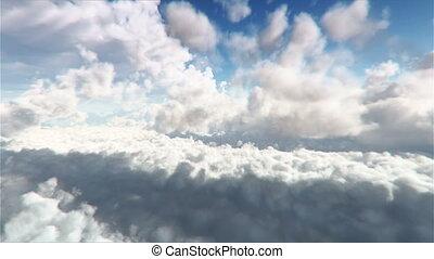 par, boucle, voler, nuages