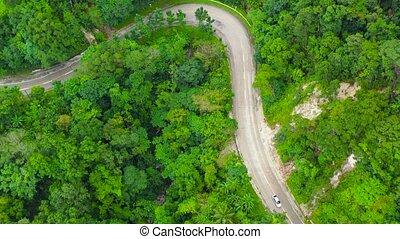 par, forêt, route, vue., aérien, montagne