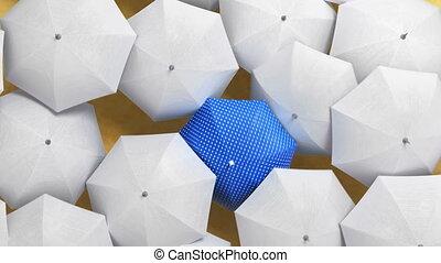 par, hd, concept., blanc, foule, parapluie, 3d, couler, ultra, debout, bleu, marche dans eau, animation, beau, dehors, 4k, parapluies