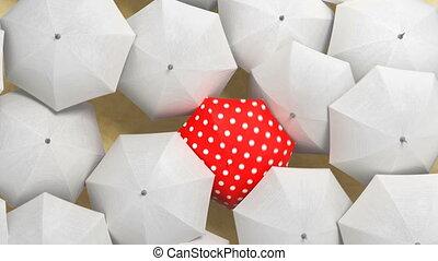 par, hd, concept., blanc rouge, foule, parapluie, éditorial, 3d, couler, ultra, marche dans eau, animation, beau, 4k, parapluies