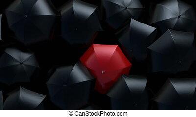 par, hd, concept., rouges, foule, parapluie, éditorial, 3d, couler, ultra, marche dans eau, animation, beau, 4k, noir, parapluies