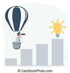 par, homme affaires, business, nouveau, mouches, air, poche, opportunities., chaud, regarde, homme, horizon, telescope., balloon, recherche