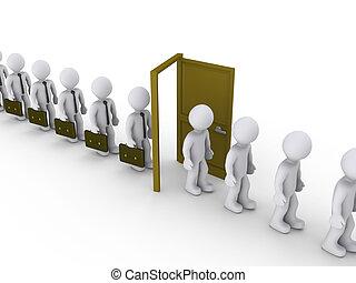 par, marche, porte, hommes affaires, chômage