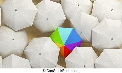 par, multicolore, hd, concept., blanc, foule, parapluie, 3d, couler, ultra, debout, marche dans eau, animation, beau, dehors, 4k, parapluies