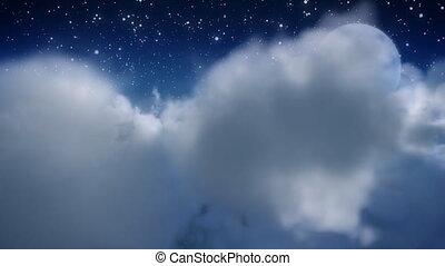 par, nuage, mouche, moon.