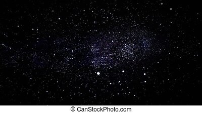 par, rotation, espace, profond, spirale, champs, rendre, étoile, 3d, space., voler, animation, galaxie, révéler, way., nebulas, galaxie, laiteux