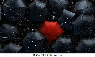 par, rouges, concept, foule, parapluie, éditorial, 3d, couler, umbrellas., marche dans eau, animation, beau, lightning., 4k, noir, version