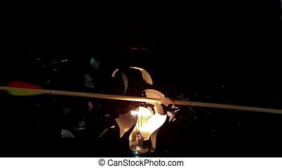 par, tir, ampoule, lumière, flèche