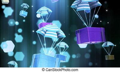 parachute, cadeau, paquet
