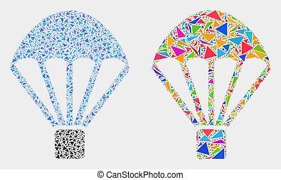 parachute, vecteur, triangles, mosaïque, icône