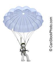 parachutiste, atterrissage, fusil