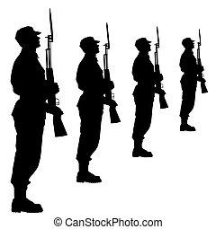 parade., silhouette, illustration., vecteur, soldats, militaire, pendant