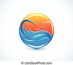 paradis tropical, plage, été, ensoleillé, logo