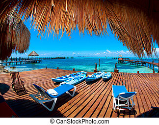 paradise., tropique, mujeres, mexique, vacances, isla