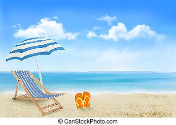 parapluie, concept, été, flip-flops., bord mer, vacances, arrière-plan., vector., paire, chaise, plage, vue
