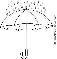 parapluie, contours, pluie