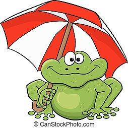 parapluie, dessin animé, grenouille