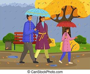 parapluie, famille, pluie, porter, imperméables, parc, automne, saison, ville, marche