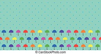 parapluie, frontière, modèle, cadre, seamless
