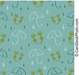 parapluie, goutte pluie, seamless, grenouille, main, arrière-plan vert, modèle, dessiné