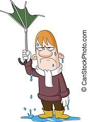 parapluie, homme, cassé