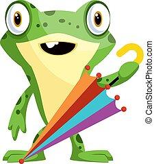 parapluie, illustration, gai, grenouille, arrière-plan., vecteur, blanc vert