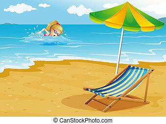 parapluie, illustration, rivage, girl, chaise plage, natation