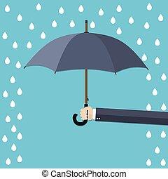 parapluie, main, rain., tenue, sous, homme