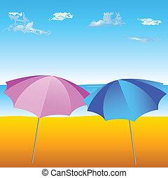 parapluie, plage, deux