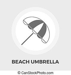 parapluie plage, plat, icône