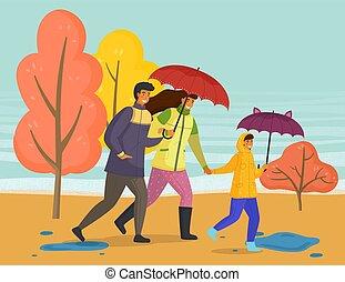 parapluie, pluie, automne, parc, saison, imperméables, porter, marche, ville, famille