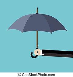 parapluie, possession main, homme affaires