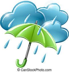 parapluie, temps pluvieux, nuages, icône