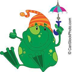 parapluie vert, grenouille