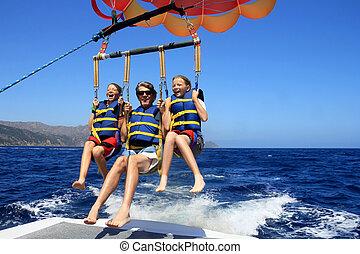 parasailing, famille, heureux