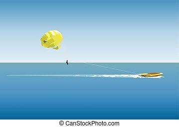 parasailing, sport, vecteur, illustration