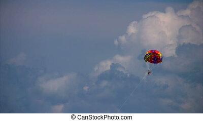 parasailing, vol ciel, humains, deux, parachute