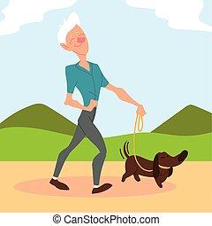 parc, aîné actif, vieil homme, chien, promenades