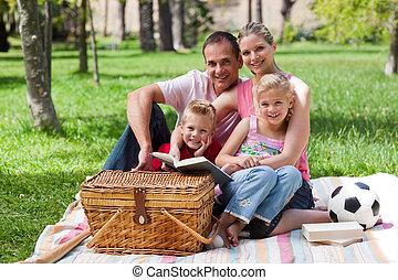 parc, amusant, famille, heureux