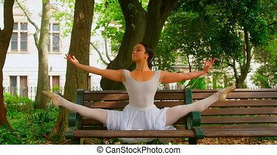 parc, ballerine, banc, pratiquer, 4k, danse, jeune