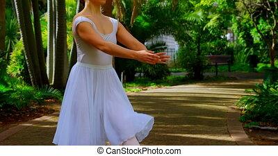 parc, ballerine, pratiquer, 4k, danse, jeune