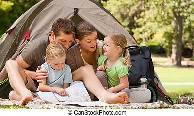 parc, camping, famille