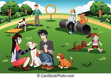 parc, chien, gens